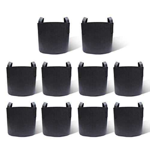 Gardzen 10-Pack 5 Gallon Grow Bags, Heavy Duty Aeration Fabric Pots with Handles