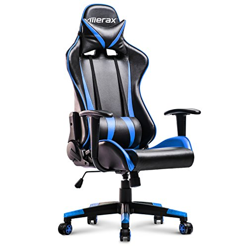 Merax Racing Gaming High-Back Chair Computer Ergonomic Design Computer Chair PU Leather Office Chair (Blue and Black)