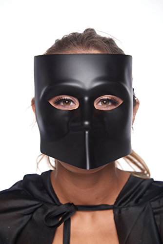 Bauta Solid Full-Face Masquerade Mask (Unisex; One Size Fits Most; Matte Black)
