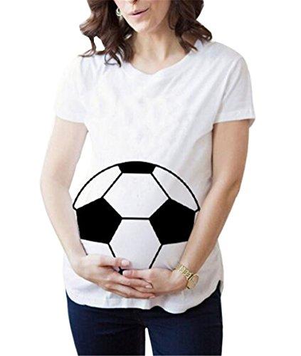 Manica Top Casual T Shirt Aivosen Stampa Forti Maternity Pregnancy T Cotone Incinta Maglietta Allentato Corta Donna Moda Shirt Comoda Morbidi White993 Taglie 6z6wc7q8