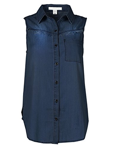 Soft Denim Chambray Sleeveless Fringe Button Down Shirt Top Dark S