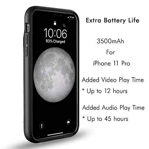 True Wireless Battery Case - Zencase for iPhone 11 Pro Max 6.5 Inch - Extended Rechargeable Charger Case Ultra-Slim Protective Battery Pack Lightning Port Accessible (4500mAh)