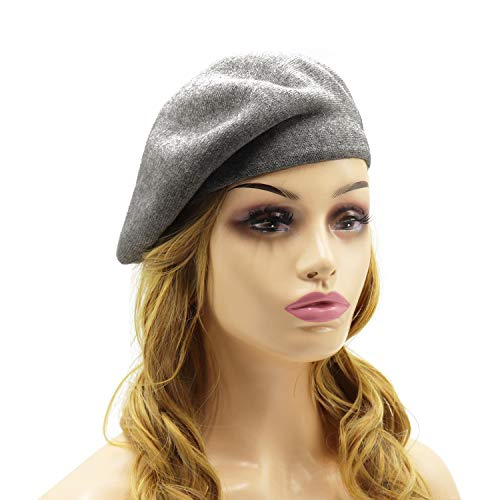 French Beret Hat,Reversible Solid Color Cashmere Beret Cap for Womens Girls Lady Adults (Gray) ()