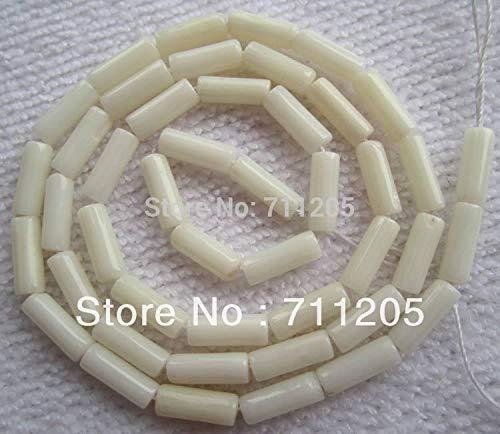 (Calvas 3x9mm White Coral Tubo Loose Beads 15