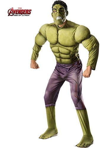 Rubie's Costume Co Men's Avengers 2 Age Of Ultron Adult Deluxe Hulk Costume, Green, X-Large (Incredible Hulk Costumes For Adults)