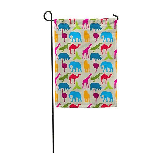 Semtomn Garden Flag Elephant Animal Pattern Rhino Camel Ostrich Ara Crocodile Giraffe 28