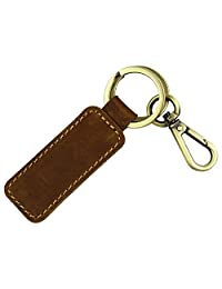 LXFF Genuine Leather Key Chain, Key Fob with Hanging Buckle (Brown 2)