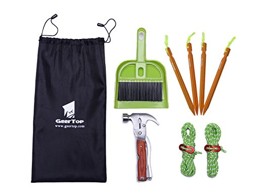 GEERTOP Tent Accessory Kit with Tent Stakes & Multi-Function Camping Hammer & Reflective Guy Ropes & Dustpan and Hand Broom
