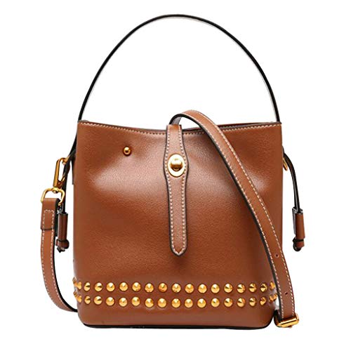 FairyBridal Luxury Rivet Genuine Leather Bucket Crossbody Bags for Women Top-Handle Shoulder Bags Satchel Purse B092703 (Style1-Brown) - Genuine Leather Bucket Handbag