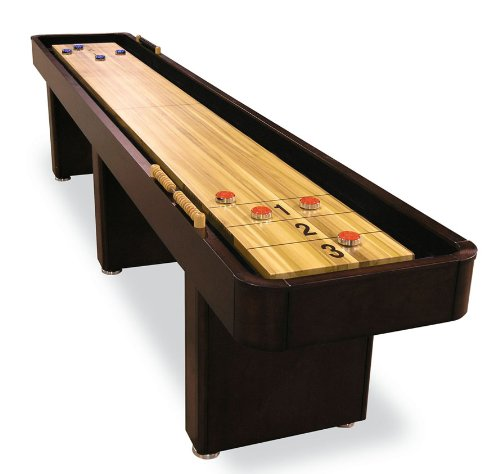 12 foot Shuffleboard Table with hidden storage cabinet in Mahogany finish by Fairview Game Rooms