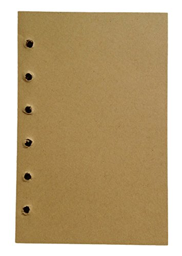Lian LifeStyle 1 Piece 77 Sheets Leather Cover Notebook Journal 6 Hole Inserts Blank Brown Color