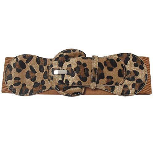 (VOCHIC Leopard Belts for Women Wide Stretch Waist Belt for Dress)