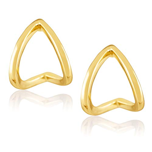 - 18K Yellow Gold Plated Sterling Silver Chevron Shaped Triangle Wrap Stud Earrings for Women