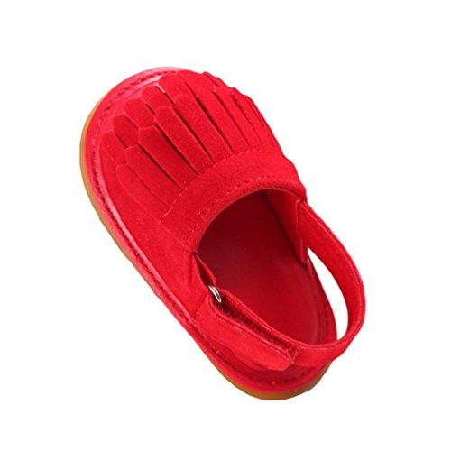 CHENGYANG Kinder Sandalen Schuhe Rutschfest Quaste Kleinkind Ersten Wanderer Sommerschuhe für Babys Rot#1