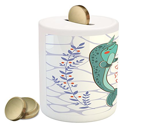Narwhal Piggy Bank by Ambesonne, Valenties Day Themed Illustration with Colorful Whales in Love Aquatic Adoration, Printed Ceramic Coin Bank Money Box for Cash Saving, - Day Ideas Valenties