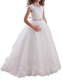 Rosa Renata Girls' Lace Communion Dress Flower Girl Dress 0474