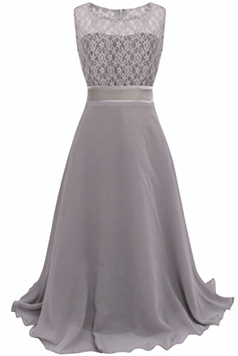 iEFiEL Big Girls Lace Chiffon Bridesmaid Dress Dance Ball Party Maxi Gown Gray 11