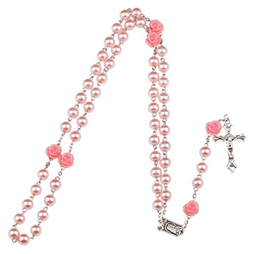 Dolovely Pink Glass Pearl Beads Long Chain Catholic Holy Rosary Necklace Crucifix Cross Pendant for Women Girls