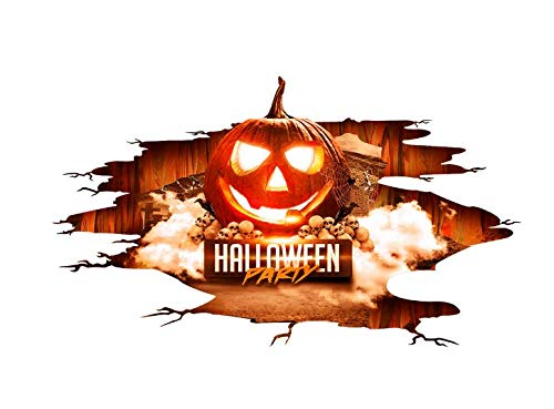 3D Halloween Pumpkin Wall Stickers, DIY Pumpkin Halloween Wall Decor Vivid Pumpkin Wall Cracked Floor Scary Stickers Waterproof PVC Wall Art Decal Clings Indoor Living Room Bedroom Cool Design