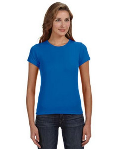 picture of Anvil 1441 Ringspun Ribbed Scoop Neck T-Shirt - Royal Blue - M