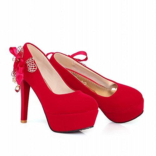 Latasa Womens Caldo Elegante Arco Tacco Alto Vestito Piattaforma Pompe Scarpe Per Il Matrimonio, Partito Rosso Caldo