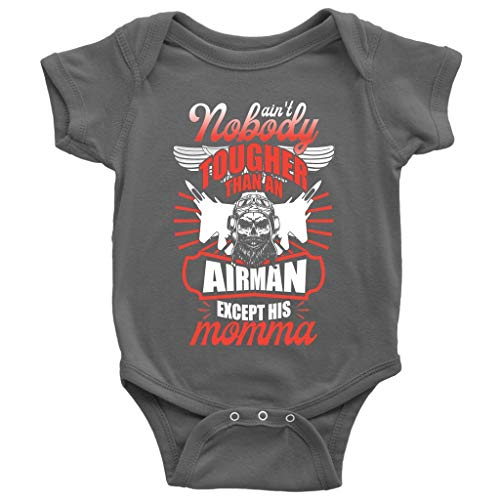 Except His Momma Baby Bodysuit, Tougher Than An Airman Cute Baby Bodysuit (12M, Baby Bodysuit - Dark Gray)