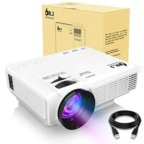 DR.J (2018 Upgraded) 4Inch Mini Projector with 170' Display - 40,000 Hour LED Full HD Video...