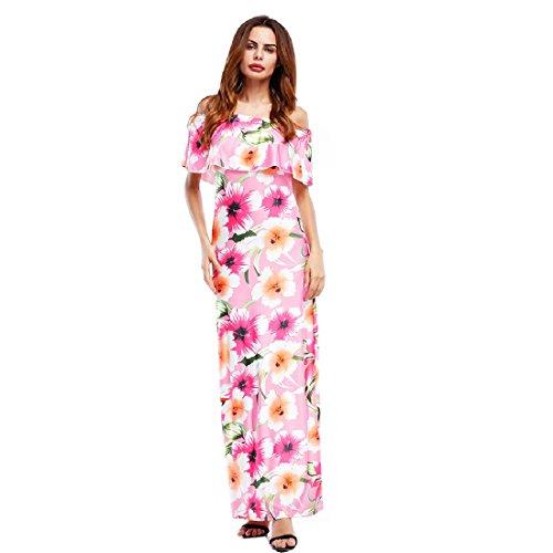 Il Più donne Il Del Bodycon Stampato Vestito Balze Rosa Maxi Dimensioni Lungo Coolred Sexy Manicotto UBYwqPPd