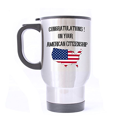 Monogram Mugs Travel - Artsbaba Travel Mug Congratulations On Your American Citizenship Mugs Personalized Monogram Your Text Mug Stainless Steel Mug Silver 14 oz