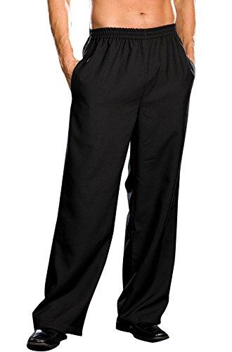 Dreamgirl Men's Elastic Waist Basic Pant, White, Large