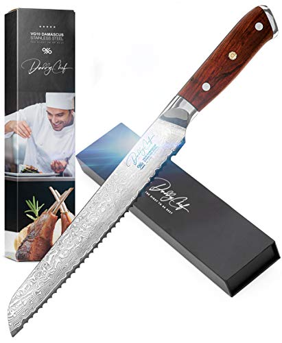 Daddy Chef Serrated Bread Knife 8 inch - Offset kitchen slicer knives from Japanese VG10 67 Layer Forged Damascus Carbon Stainless Steel - Large carving knife for Bagel Baguette and - Set Knife Cake Slicer