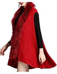Helan Women's Luxury Style Faux Fox Fur Short Vest Cloak Coat Shawl