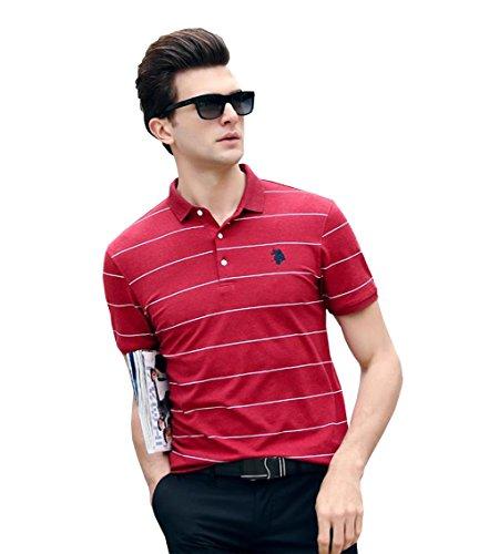 適切に素敵な寄付するPuHao (プハオ) メンズ ポロシャツ 半袖 夏  ボーダー カジュアル スポーツウェア ゴルフウェア シンプル 通気性 薄手 吸汗 polo ファッション カッコイイ Tシャツ (レッド03, XL)