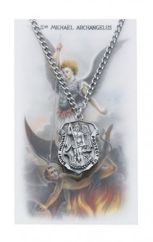 Saint Michael Badge Shape Pewter Medal Pendant Necklace with Holy Prayer Card