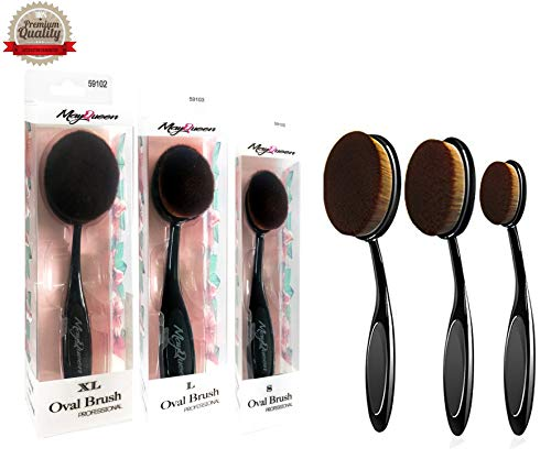 MayQueen 3Pack Oval Makeup Brushes, Foundation, Blusher, Concealer. Contouring Makeup Tools, 3 Kinds(XL, L & S) of Sizes. (Oval Brush Set 2) (Best Kind Of Foundation Brush)