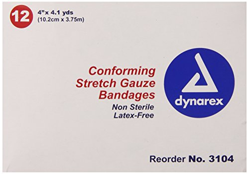 (Dynarex Non-Sterile Stretch Gauze Bandage Roll, 4-Inch x 4.1 yds,12 Count)
