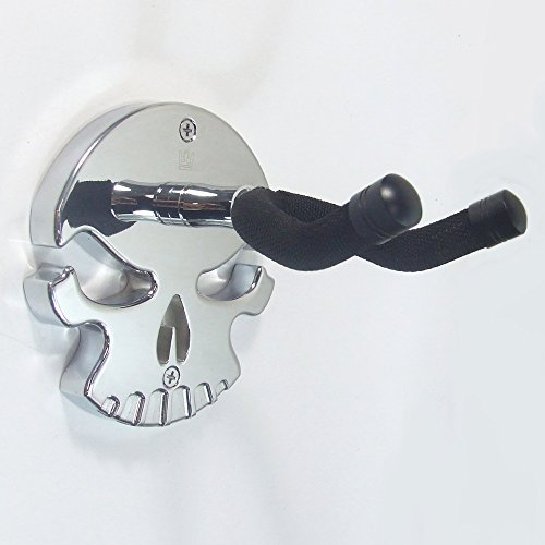 Guitar Stand Nitrocellulose - Guitar Wall Hanger Skull Design by Guitar Thrones (Chrome)