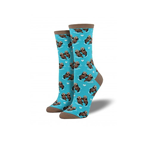 Socksmith Womens Significant Otter Crew Socks, Bright Blue,One Size