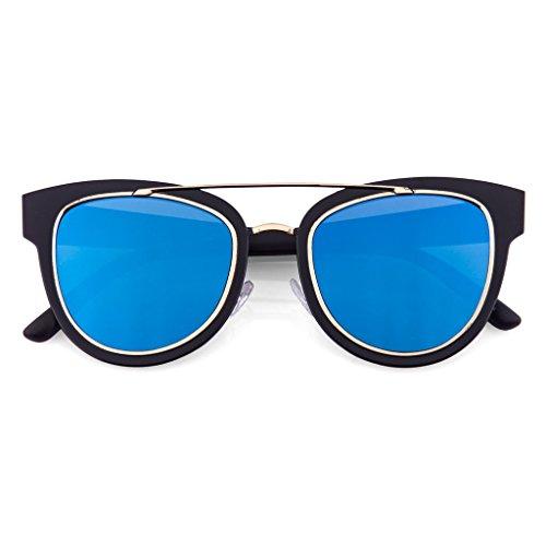 Funky Flat Mirror Lens Horned Rim Sunglasses