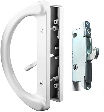 Patio Door Handle Set + Mortise Lock 45° Perfect Replacement for Sliding Glass Door Fits 3-15/16 Screw Hole Spacing, Non-keyed with Mortise Latch Locks,White Diecast,Reversible Design(Non-Handed)