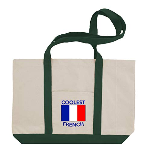 (Coolest French Cotton Canvas Boat Tote Bag Tote - Green)