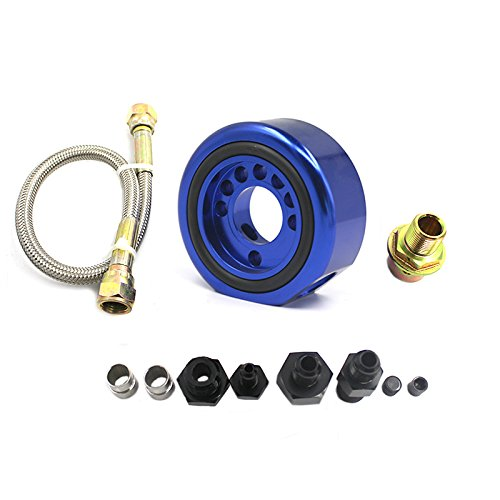 Supply Line Oil - For Acura Honda LS B20 Vtec Oil Supply Adapter Aluminum Line Conversion Kit Vtec Head To LS / B20 Block (Blue)
