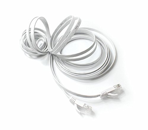 TBMax Cat 6 Ethernet Patch Cable Flat 10ft,Fast Ethernet than Cat5e/Cat5 Bandwidth,Short Network Cat6 Cable Patch,10 ft Slim Internet Cable Computer/Gaming Ethernet Cord Snagless RJ45 Connectors White - 10' Cat5 Cable