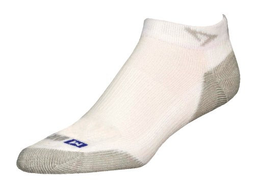 Drymax Run Mini Crew Socks, White/Grey, Large (W10-12 / M8.5-10.5)