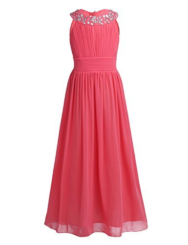 iiniim Girl's Sequined Halter-Neck Sleeveless Chiffon Long Gowns Pageant Party Prom Wedding Bridesmaid Flower Girl Dress (14, Watermelon Red)