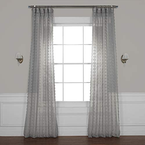 HPD Half Price Drapes SHCH-119A-84 Patterned Linen Sheer Curtain 1 Panel , 50 X 84, Strasbourg Dot Grey