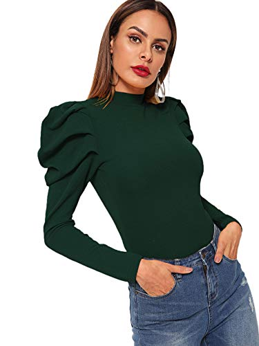 Romwe Women's Elegant Mock Neck Keyhole Back Leg-of-Mutton Long Sleeve Blouse Green Large