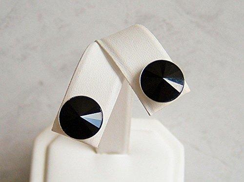Cute Simulated Black Spinel Round Swarovski Crystal Stainless Steel Ear Stud Post Earrings Gift Idea