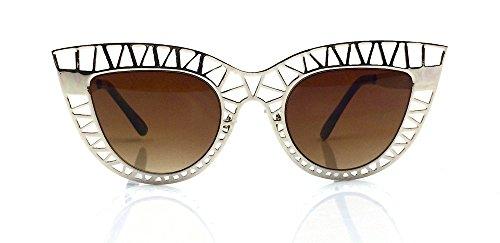 Vintage Steel Cat Eye Metal Net Frame Pointy Edges Oversized Spider Sunglasses - Pointy Shades