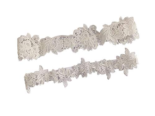 YuRongsxt Flower Leaf Style Garter Set Wedding Garter Set Bridal Garter G08 (Ivory) ]()